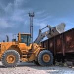 Excavator loader with backhoe works — Stock Photo