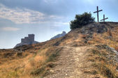 Tower of Genoa fortress in Sudak Crimea From the ground up on th — Stock Photo