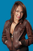Woman in a brown jacket — Stock Photo