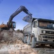 Stock Photo: Loading large lorry building material