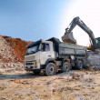 Loading a large lorry building material - Stock Photo