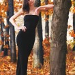 Hot young woman in autumn park — Stock Photo #25811255
