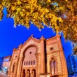 Night of the old synagogue of Uzhgorod, Ukraine — Stock Photo