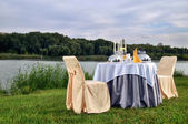 The fashionable holiday table outdoors — Stock Photo