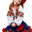 Young pretty girl in a ukrainian national costume — Stok fotoğraf