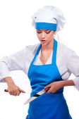 Girl in chef uniforms — Stock Photo