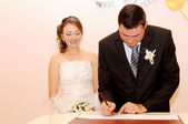 Signing of the marriage contract — Stockfoto