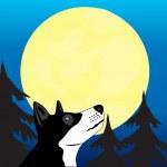 Dog wails on moon — Stock Vector #14286713
