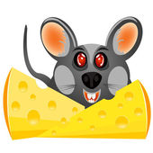 Baby mouse with cheese — Stock Vector
