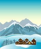 Dorf in den bergen — Stockvektor