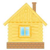 Dřevěná chata na bílém pozadí — Stock vektor