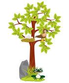 Jack ve kuş ile yıl ağacı — Stok Vektör