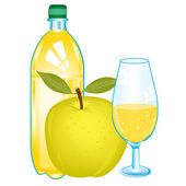 Ripe apple and drink — Stock Vector