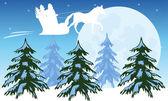Santa flies on sky — Stock Vector