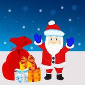 Festive santa with gift — Stock Vector