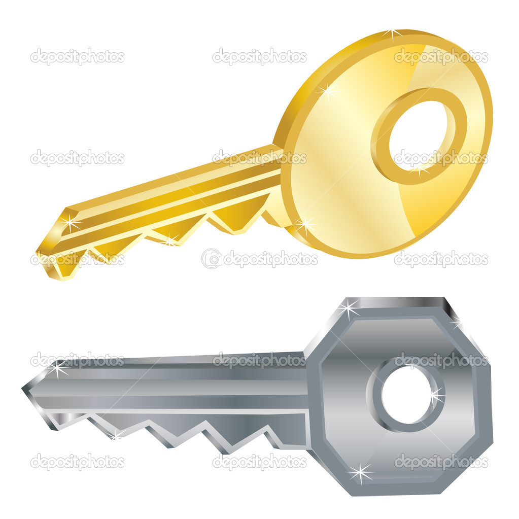 Two keys iron and gold on white background is insulated — Stock Vector #18032723