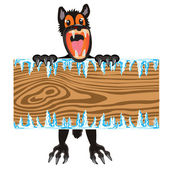 Wolf with wooden board in hand — Stock Vector