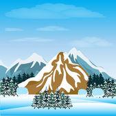 Winter in mountain — Stock Vector