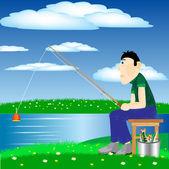Fisherman on river — Stock Vector