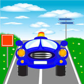 Blue car goes on road — Stock Vector