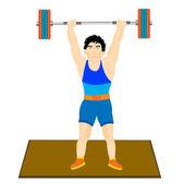Man athlete raises barbell — Stock Vector