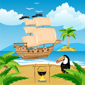 Nave with sail beside coast in tropic — Stock Vector