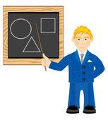 Nauczyciel obok płyty — Wektor stockowy