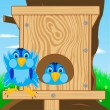 Royalty-Free Stock Vector Image: Bird sparrow and bird house