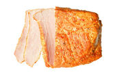 Fresh piece of meat ham on white — Stock Photo