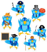 Mnoho ptáků sparrow různé profese — Stock vektor