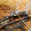 Derby on campfires — Stock Photo