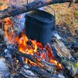 Prepare food on campfires — Stock Photo