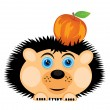 Hedgehog carries apple — Stock Vector