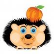 Hedgehog carries apple — Stockvector