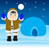 Eskimo beside igloo — Stockvektor