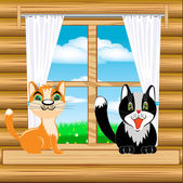 Cats on window — Stock Vector