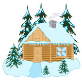 Wooden house in wood — Stock Vector