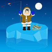 Fisherman on block of ice — Stock Vector