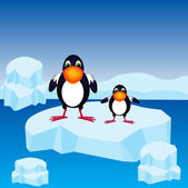 Penguins on block of ice — Stock Vector