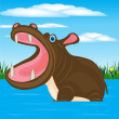 Stockvector : Hippopotamus in water