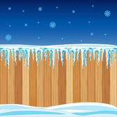 Wooden fence in winter — Stock Vector