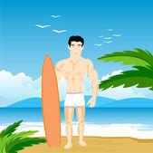 Man op strand — Stockvector