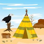 Wigwam in desert — Stock Vector