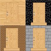 Door in wall — Stock Vector