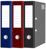 Stationery red, blue, black folders with documents isolated — Stockvector