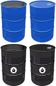 Set barrel oil isolated — Vector de stock