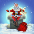 SantClaus sitting on roof — Stockfoto #33056027