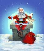 圣诞老人坐在屋顶上 — 图库照片