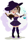 Beautiful witch cooks a potion — Wektor stockowy