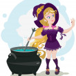 Cute witch cooks potion and admires ring — Stock Vector #47879651